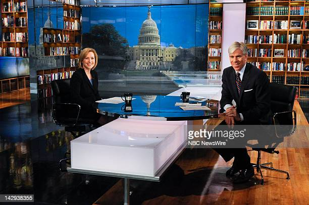 – Sen Kristen Gillibrand left and moderator David Gregory right appear on Meet the Press in Washington DC Sunday April 15 2012