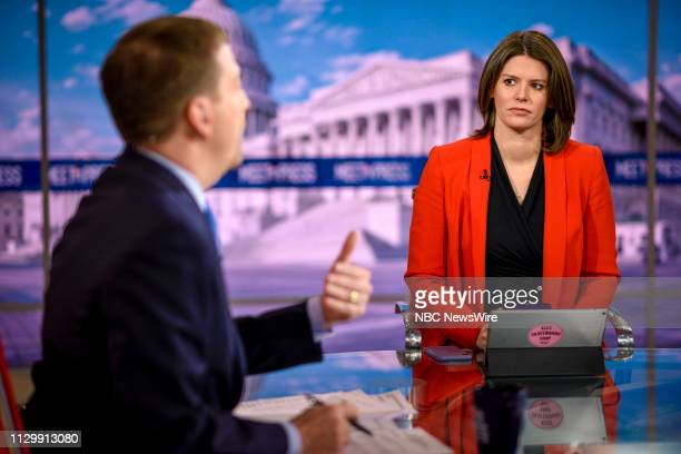 Sen Mark Warner and moderator Chuck Todd appear on Meet the Press in Washington DC Sunday March 3 2019