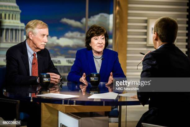 Sen Susan Collins Sen Angus King and moderator Chuck Todd appear on 'Meet the Press' in Washington DC Sunday April 30 2017