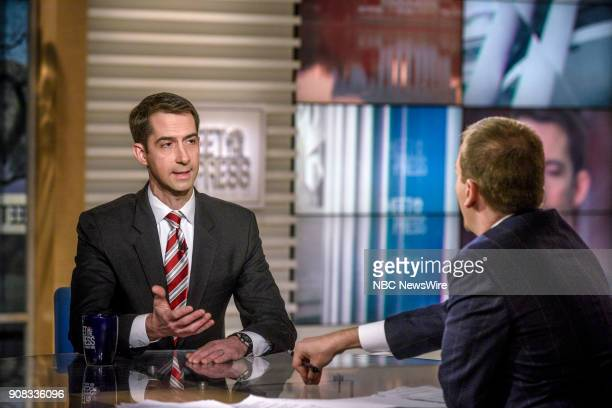 Sen Tom Cotton and moderator Chuck Todd appear on 'Meet the Press' in Washington DC Sunday Jan 21 2018