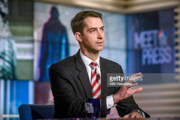 """Pictured: Sen. Tom Cotton appears on """"Meet the Press"""" in Washington, D.C., Sunday, Jan. 21, 2018."""