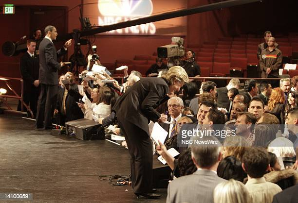 Senator Barack Obama and Senator Hilary Rodham Clinton signs autographs after the Democratic Presidential Candidates Debates moderated by MSNBC's Tim...