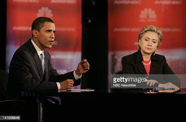 Senator Barack Obama and Senator Hillary Rodham Clinton during the Democratic Presidential Candidates Debates moderated by MSNBC's Tim Russert and...