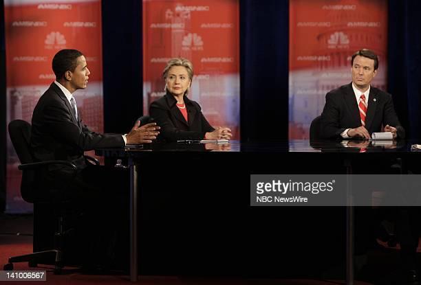 Senator Barack Obama Senator Hillary Rodham Clinton and Senator John Edwards during the Democratic Presidential Candidates Debates moderated by...