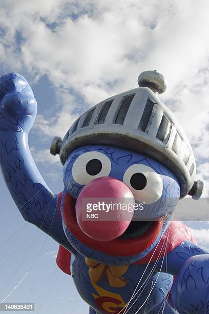 Pictured: Sesame Street's Super Grover balloon Inflation at Giants Stadium in East Rutherford, NJ prior to the 2003 Macy's Thanksgiving Day Parade --...