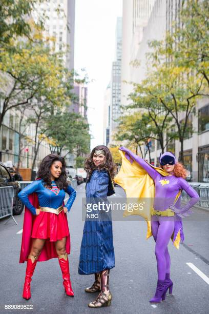 Sheinelle Jones as Superwoman Jenna Bush Hager as Wonder Woman and Dylan Dreyer as Bat Girl on Tuesday October 31 2017