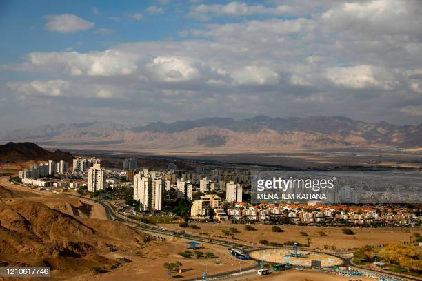 Pictured shows the southern Israeli Red Sea resort city of Eilat on April 17, 2020 amid the coronavirus COVID-19 pandemic. - Due to the novel...