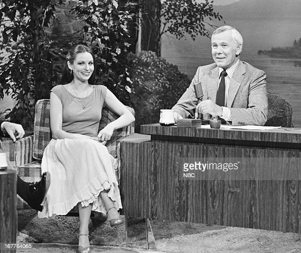 Singer Crystal Gayle host Johnny Carson on March 26 1980