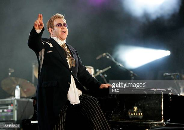Singer Elton John performs on stage during the 'Concert for Diana' held at Wembley Stadium Wembley London England on July 1 2007