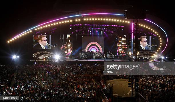 Singer Elton John performs on stage during the 'Concert for Diana' held at Wembley Stadium Wembley London England on July 1 2007 Photo by Helen...