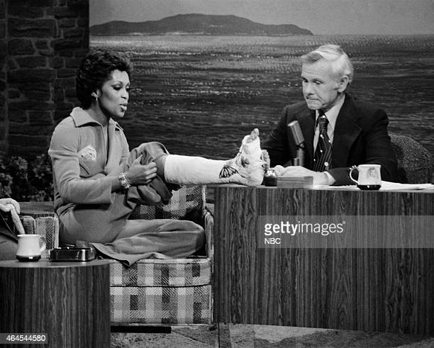 Singer Lola Falana during an interview with host Johnny Carson on January 22 1976