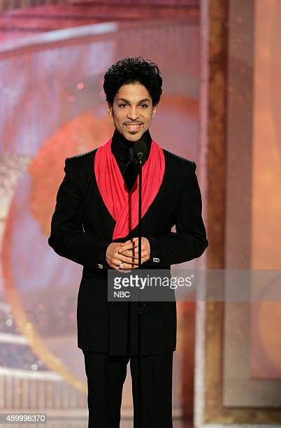 Pictured: Singer Prince speaks on stage at the 62nd Annual Golden Globe Awards held at the Beverly Hilton Hotel on January 16, 2005 --
