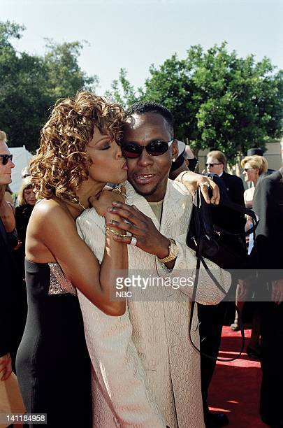 Singer/actress Whitney Houston husband singer Bobby Brown on the red carpet at the 50th Annual Primetime Emmy Awards held at the Shrine Auditorium in...