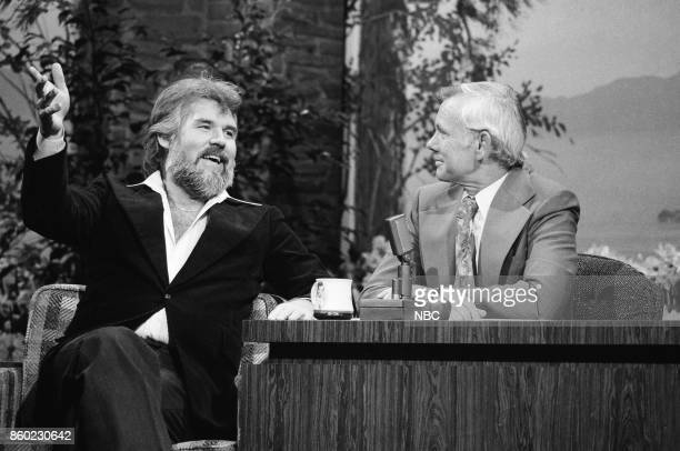 Singer/songerwriter Kenny Rogers during an interview with host Johnny Carson on April 5 1977
