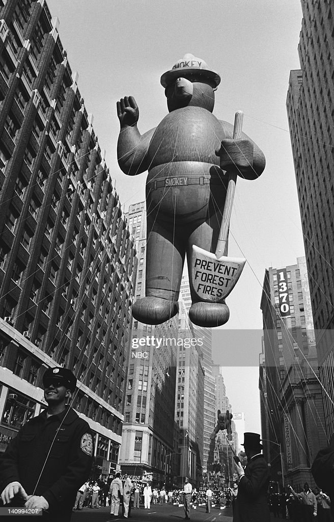 Smokey the Bear balloon passes over head during the 1966 Macy's Thanksgiving Day Parade -- Photo by: NBCU Photo Bank
