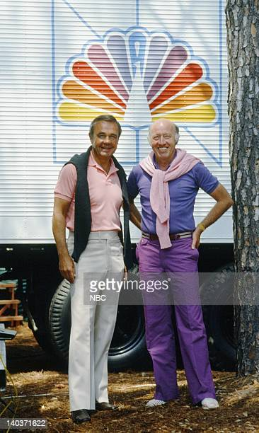 Pictured: Sportscasters Dick Enberg, Bud Collins in 1982-- Photo by: Art Seitz/NBC/NBCU Photo Bank