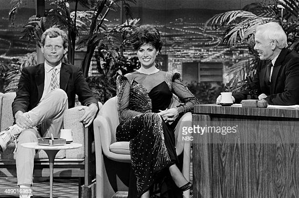 Talk show host David Letterman Model/police officer Adela Rivera during an interview with host Johnny Carson on April 18 1986