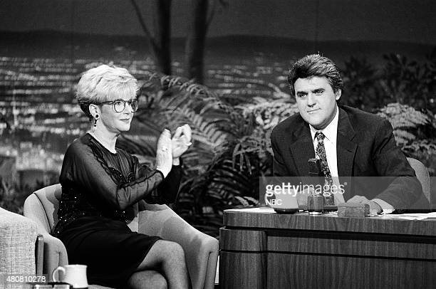 Pictured: Talk show host Sally Jessy Raphael during an interview with guest host Jay Leno on November 6, 1990 --