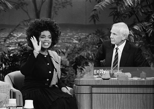 Talk show host/actress Oprah Winfrey host Johnny Carson on February 5 1988