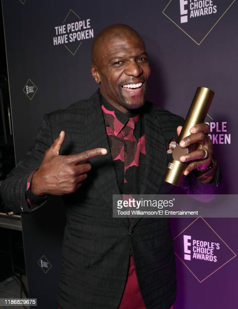 Terry Crews poses backstage during the 2019 E People's Choice Awards held at the Barker Hangar on November 10 2019 NUP_188991
