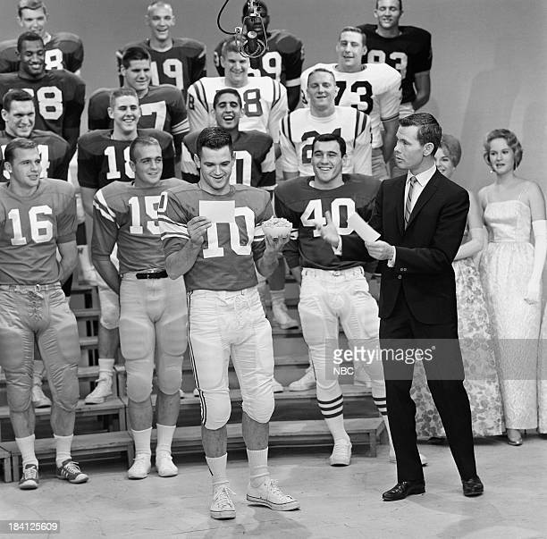 The 1962 College Footbal AllAmerica Team #10 Billy Moore host Johnny Carson unknown #15 Glynn Griffing #40 George Saines Lee Roy Jordan #18 unknown...