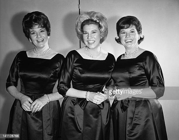 The Andrews Sisters LaVerne Andrews Patty Andrews Maxene Andrews on June 14 1963 Photo by NBC/NBCU Photo Bank