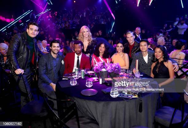 The cast of 'Shadowhunters The Mortal Instruments' pose in the audience during the 2018 E People's Choice Awards held at the Barker Hangar on...