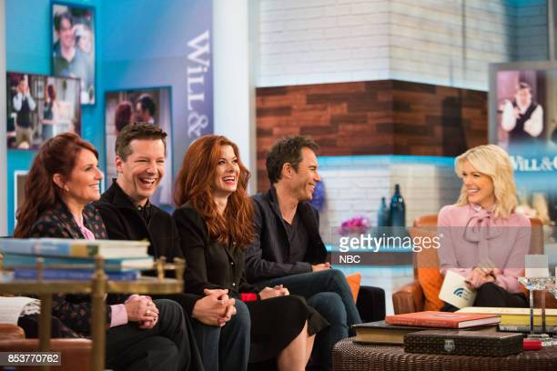 The cast of Will Grace Megan Mullally Sean Hayes Debra Messing Eric McCormack talk with Megyn Kelly on Monday September 25 2017