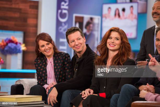 The cast of Will Grace Megan Mullally Sean Hayes Debra Messing talk with Megyn Kelly on Monday September 25 2017