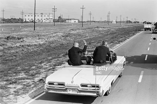 The first American astronaut to orbit Earth John Glenn Vice President Lyndon B Johnson at Cape Canaveral Air Force Station for Glenn's presentation...