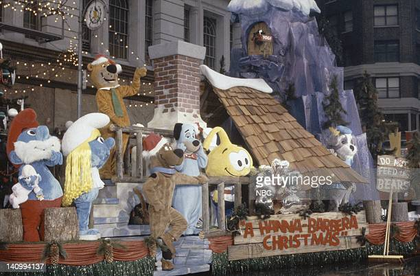 The Smurfs Huckleberry Hound Yogi Bear ScoobyDo and Snorks ride a float during the 1983 Macy's Thanksgiving Day Parade Photo by Alan Singer/NBCU...