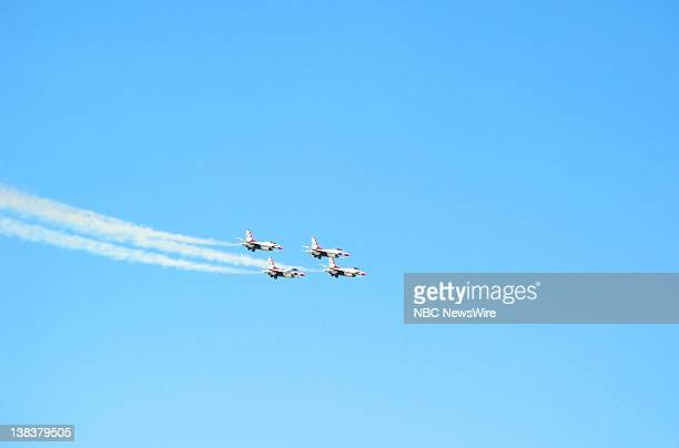 The USAF Thunderbird team does air maneuvers in the F16 Fighting Falcon jet fighter aircraft at Nellis Air Force Base in Las Vegas Nevada on November...