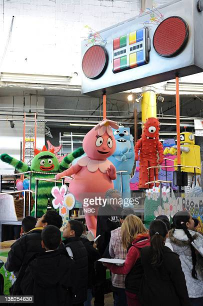 'There's A Party In My City' float by 'Yo Gabba Gabba Live' Floats and balloons get tested in preparation for Macy's Thanksgiving Day Parade on...