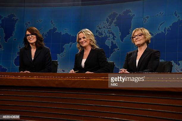 Tina Fey Amy Peohler Jane Curtin during The Weekend Update on February 15 2015