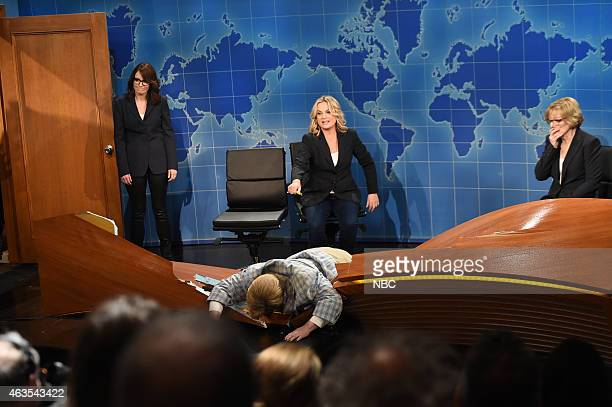 Tina Fey Amy Poehler Melissa McCarthy as Matt Foley Jane Curtin during the Weekend Update skit on February 15 2015
