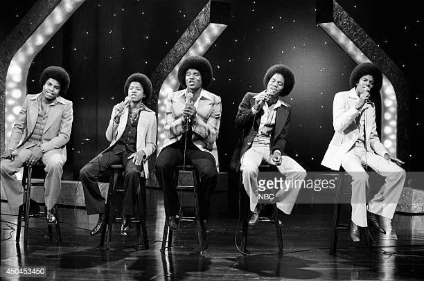 Tito Jackson Randy Jackson Jackie Jackson Marlon Jackson and Michael Jackson of the musical guest The Jackson 5 perform on June 21 1976