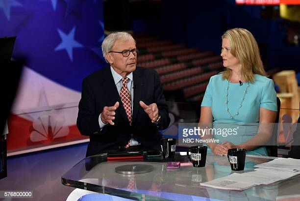 Tom Brokaw NBC News Special Correspondent right Sara Fagen GOP Political Strategist appear on Meet the Press in Cleveland OH Sunday July 17 2016