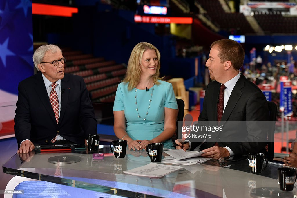 -- Tom Brokaw, NBC News Special Correspondent, Sara Fagen, GOP Political Strategist, Moderator Chuck Todd appear on 'Meet the Press' in Cleveland, OH, Sunday July 17, 2016. --