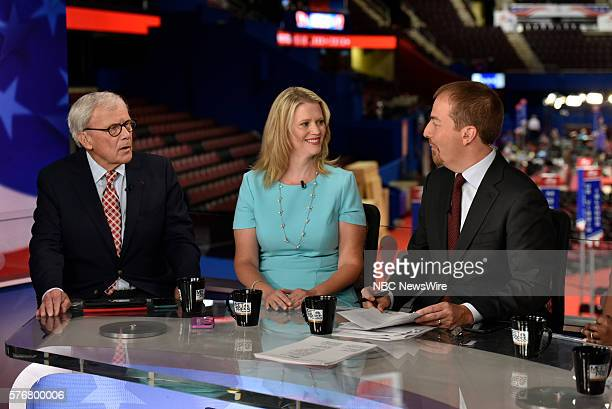 Tom Brokaw NBC News Special Correspondent Sara Fagen GOP Political Strategist Moderator Chuck Todd appear on Meet the Press in Cleveland OH Sunday...