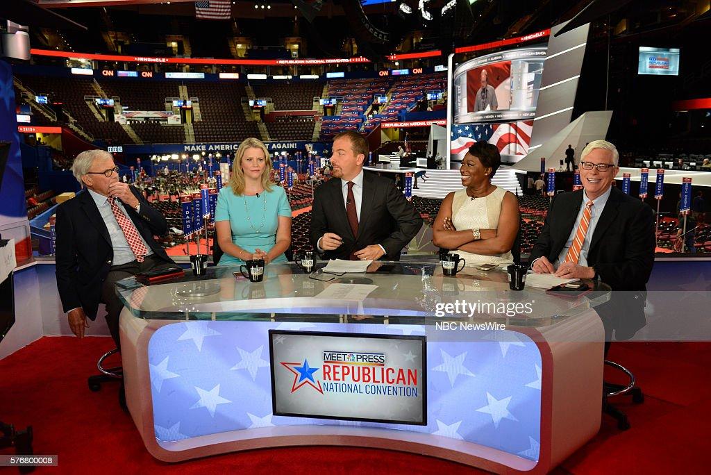 -- Tom Brokaw, NBC News Special Correspondent, Sara Fagen, GOP Political Strategist, Moderator Chuck Todd, Joy-Ann Reid, Host, AM Joy, Hugh Hewitt, Host, The Hugh Hewitt Show appear on 'Meet the Press' in Cleveland, OH, Sunday July 17, 2016. --