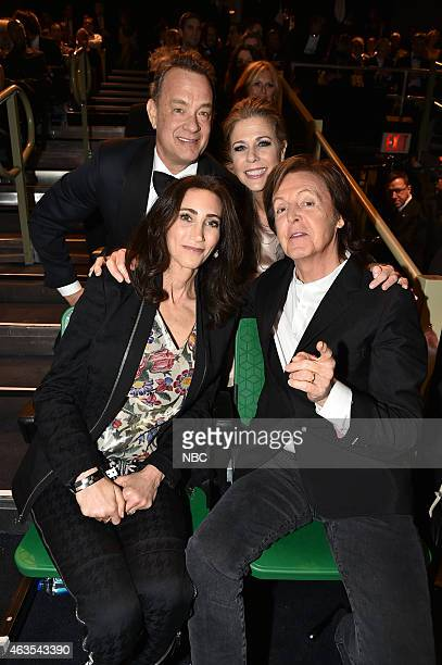 Tom Hanks Rita Wilson Nancy Shevell Paul McCartney on February 15 2015