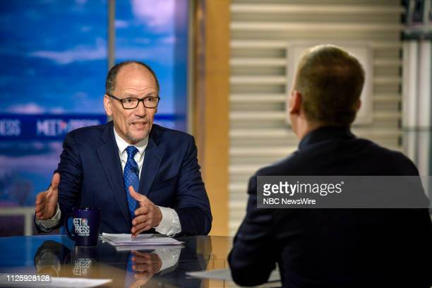 Tom Perez Chair Democratic National Committee and moderator Chuck Todd appear on Meet the Press in Washington DC Sunday Feb 17 2019