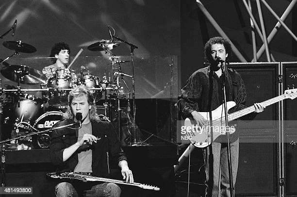 Pictured: Tom Stephen, Jeff Healey, and Joe Rockman of the musical guest The Jeff Healey Band perform on December 20, 1990 --