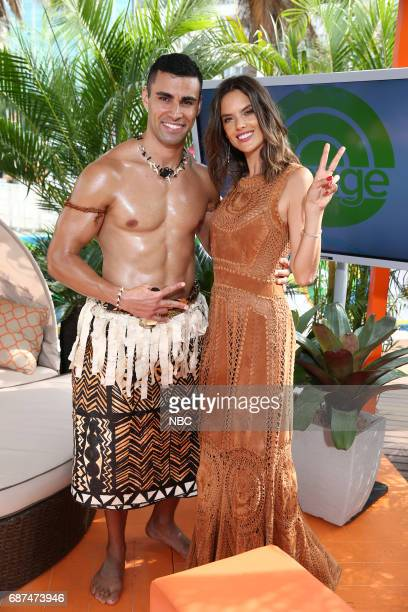 Tongan flag bearer Pita Taufatofua and model Alessandra Ambrosio appear on NBC's 'TODAY' show at the Rio Olympics on Monday August 8 2016
