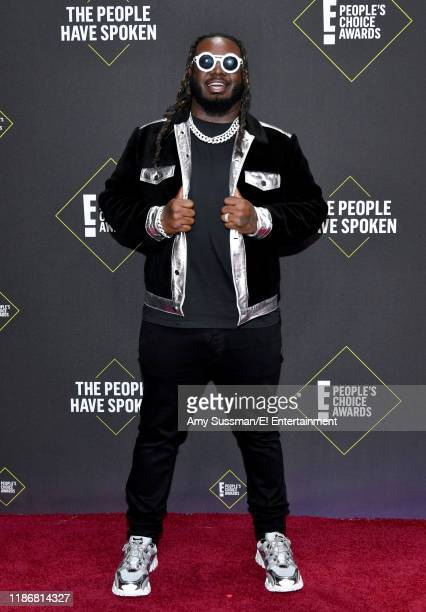 Pictured: T-Pain arrives to the 2019 E! People's Choice Awards held at the Barker Hangar on November 10, 2019 -- NUP_188989