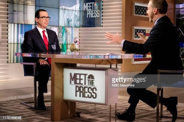 "Pictured: Treasury Secretary Steven Mnuchin and moderator Chuck Todd appear on ""Meet the Press"" in Washington, D.C., Sunday September 22, 2019."