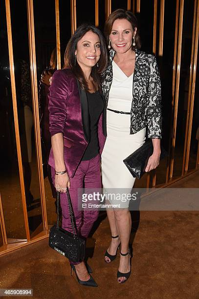 TV personalities Bethenny Frankel and LuAnn de Lesseps at The Royals premier party at The Top of The Standard on March 9 2015