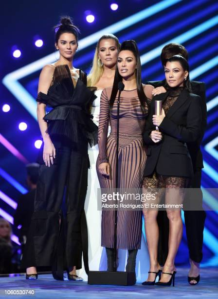 TV personalities Kendall Jenner Khloe Kardashian Kim Kardashian Kourtney Kardashian and Kris Jenner accept The Reality Show of 2018 award for Keeping...