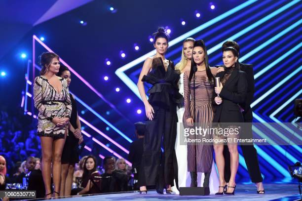 Pictured: TV personalities Kendall Jenner, Khloe Kardashian, Kim Kardashian, Kourtney Kardashian, and Kris Jenner accept The Reality Show of 2018...