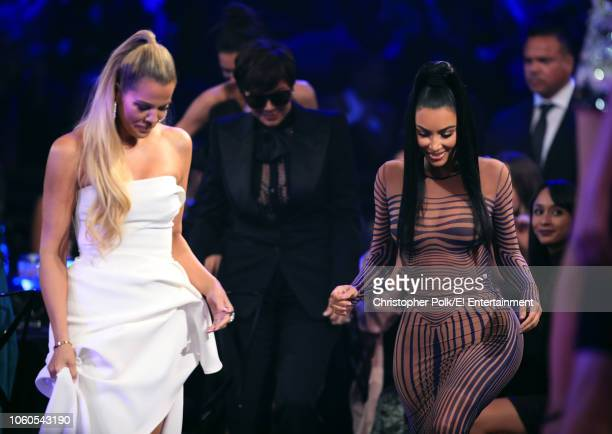 TV personalities Khloe Kardashian and Kim Kardashian West attend the 2018 E People's Choice Awards held at the Barker Hangar on November 11 2018...